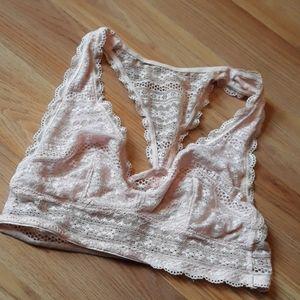 Light pink lightly lined lace bralette
